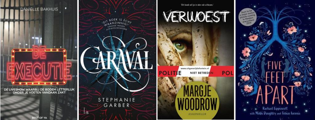 Boeken 'De executie', 'Caraval', 'Verwoest' en 'Five feet apart'