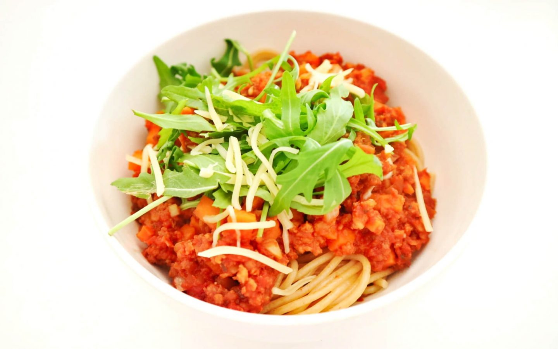 Vegetarische spaghetti bolognese met vega gehakt