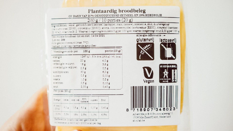 Voedingswaarden AH Plantaardige plakken